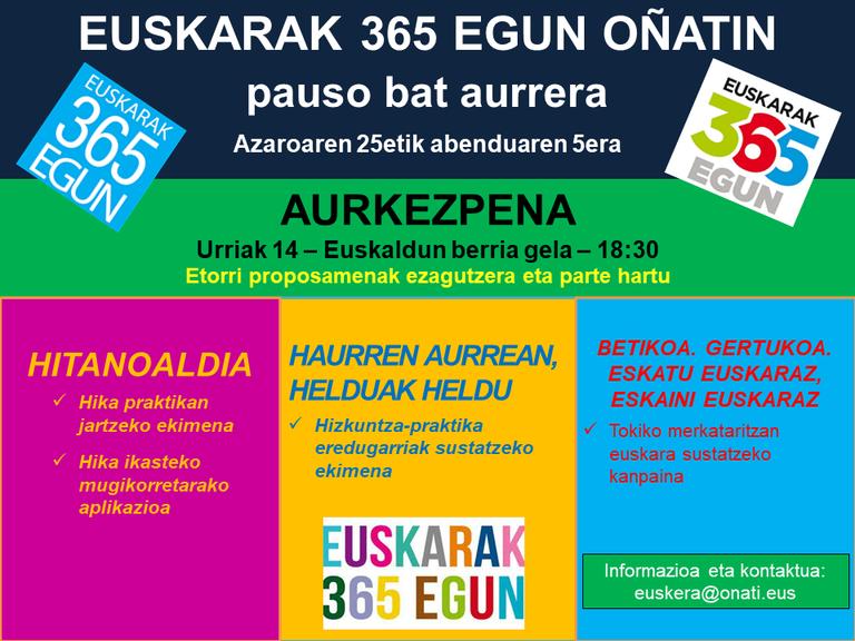"Presentación de la iniciativa ""Euskarak 365 egun Oñatin. Pauso bat aurrera"""