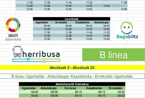 Horario especial de Herribus desde el 3 al 22 de agosto