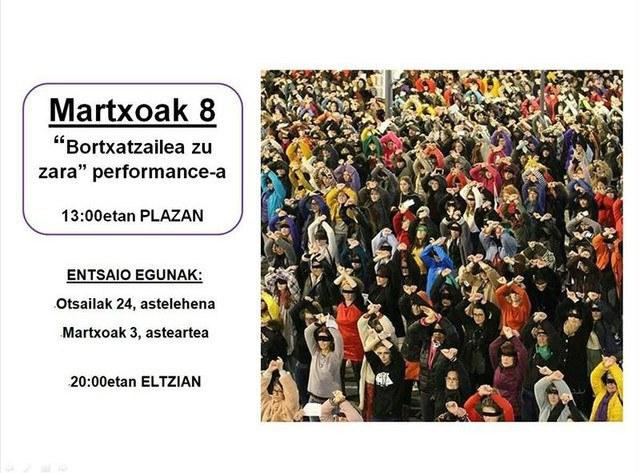 """""""Bortxatzailea zu zara"""" performancea prestatzeko entsegua"""