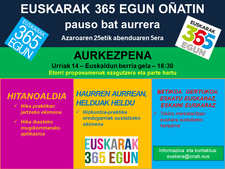 """""""Euskarak 365 egun Oñatin. Pauso bat aurrera"""" ekimenaren aurkezpena"""