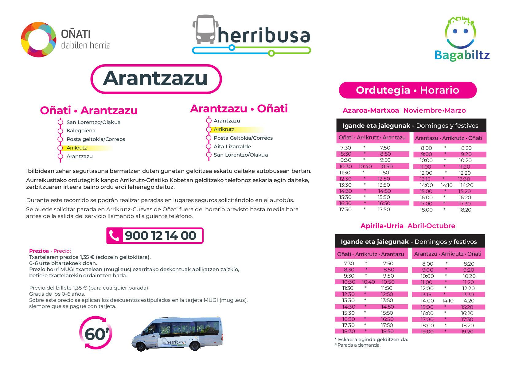 Arantzazu-Oñati busa - ordutegia